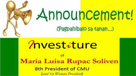 Investiture  of Dr. Maria Luisa Rupac Soliven  8th President of CMU (and 1st Woman President)