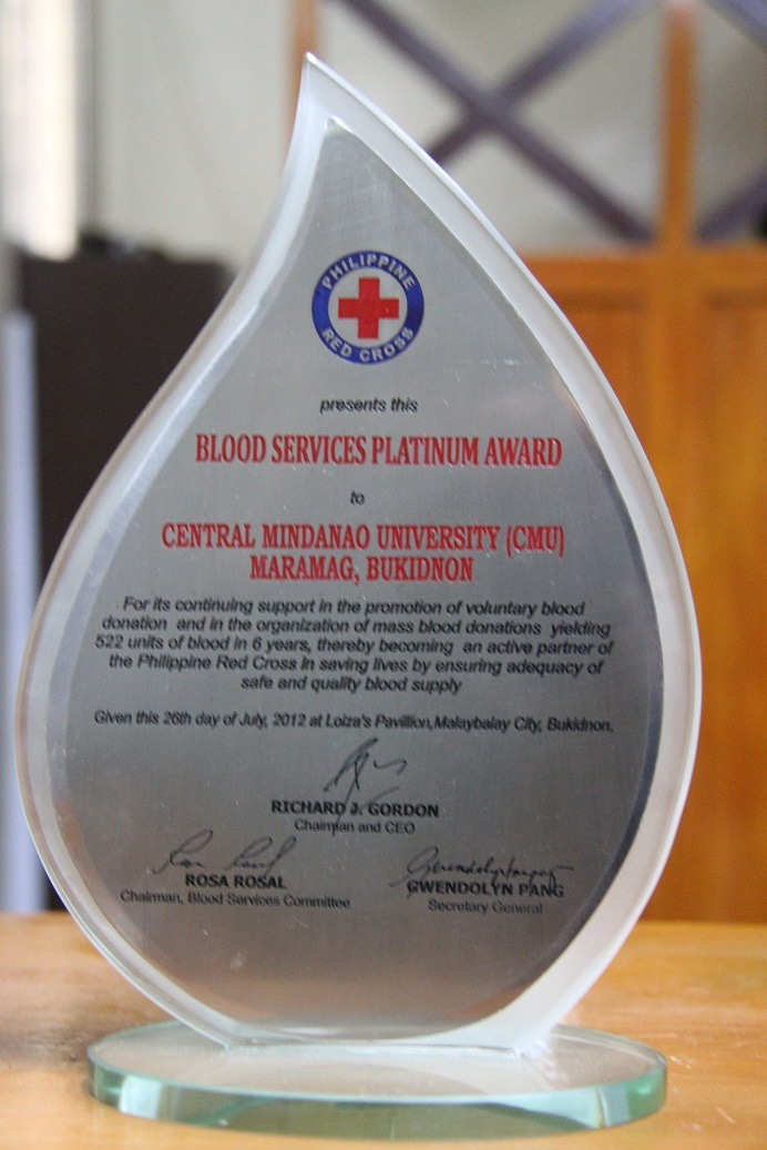Blood Services and Platinum Award for CMU from the Philippine Red Cross