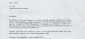NOTICE FOR TEACHING DEMOS IN COLLEGE OF ARTS AND SCIENCES (CAS) DEPARTMENT