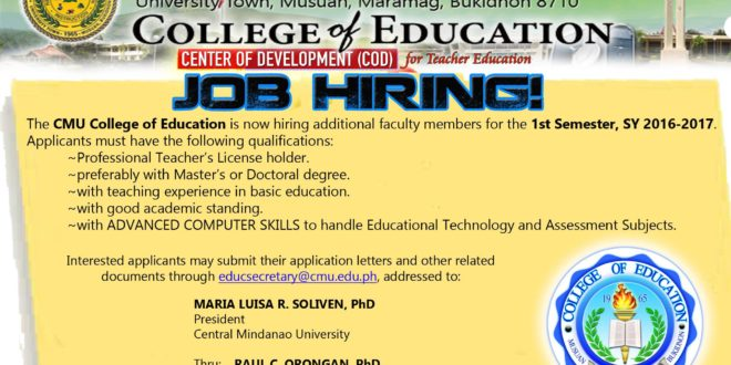 College of Education Job Hiring 2016