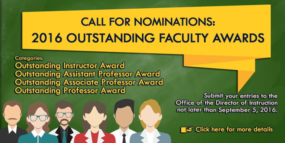 2016 SEARCH FOR OUTSTANDING FACULTY