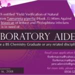 HIRING: 1 Laboratory Aide