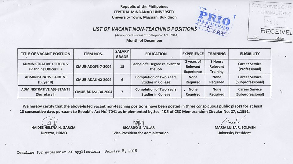 HIRING NON-Teaching Position 2017 5