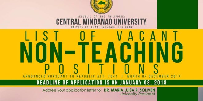 HIRING:  Non-Teaching positions