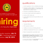 HIRING: One (1) faculty of the Department of Hospitality Management.