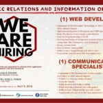 HIRING: One (1) Communication Specialist and one (1) Web Developer of Public Relations and Information Office (PRIO)