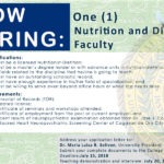 HIRING: One (1) faculty of the Department of Nutrition and Dietetics.