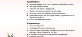 LOOK: Department of Food Science is in need one (1) faculty member.
