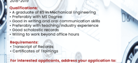 HIRING: The Department of Mechanical Engineering, College of Engineering is in need of one faculty member for the 1st semester, 2018-2019.