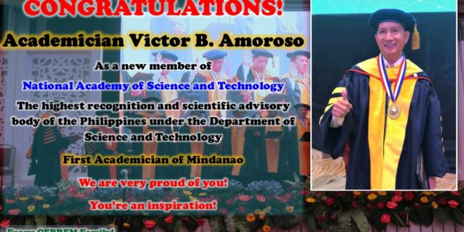 IN PHOTO: Congratulations Academician Victor B. Amoroso!