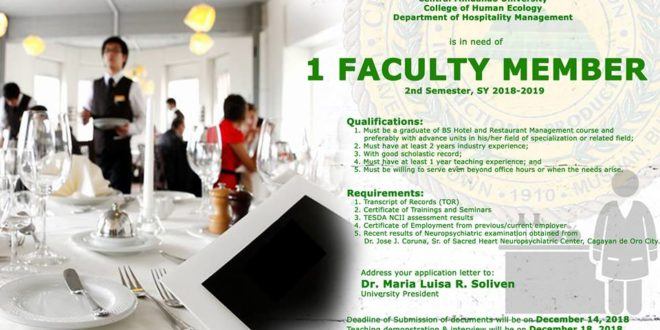 HIRING: Department of Hospitality Management