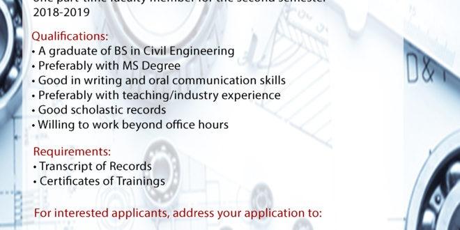 HIRING: Department of Civil Engineering