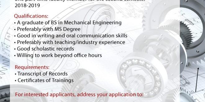HIRING: Department of Mechanical Engineering