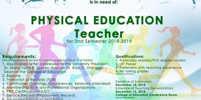 HIRING: Department of Physical Education