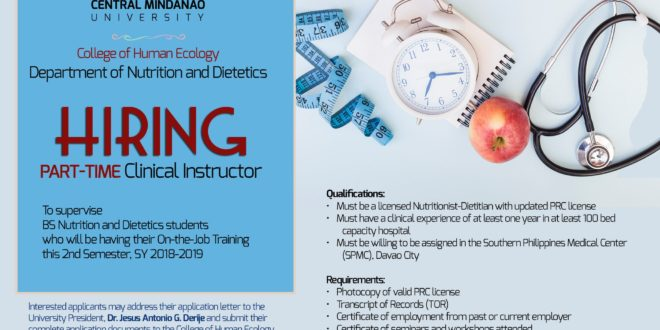 HIRING: The Department of Nutrition and Dietetics is in need of a Part time Clinical Instructor.