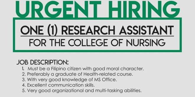 HIRING: 1 Research Assistant