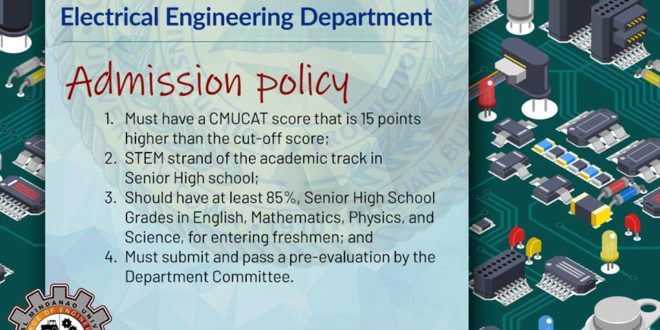 LOOK: Electrical Engineering Admission policy.  Required CMUCAT raw score for SY 2019-2020 is 73.