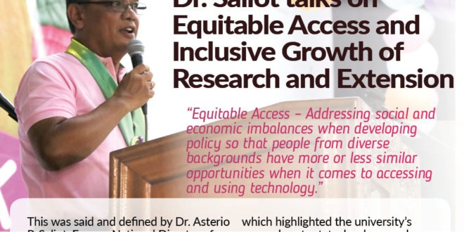 CMU Bulletin (RDEW2019): Dr. Saliot talks on Equitable Access and Inclusive Growth of Research and Extension