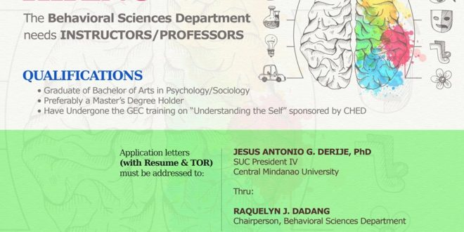 HIRING: The Behavioral Sciences Department needs INSTRUCTORS/PROFESSORS