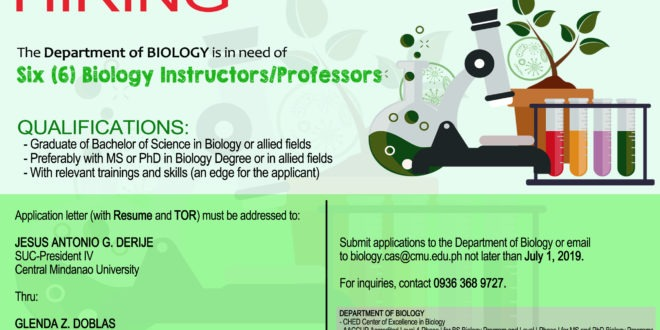 HIRING: The Department of Biology is in need of six (6) Biology Instructors/Professors