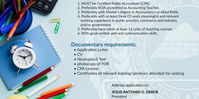 HIRING: The Department of Accountancy, College of Business and Management is looking for new Faculty Members.