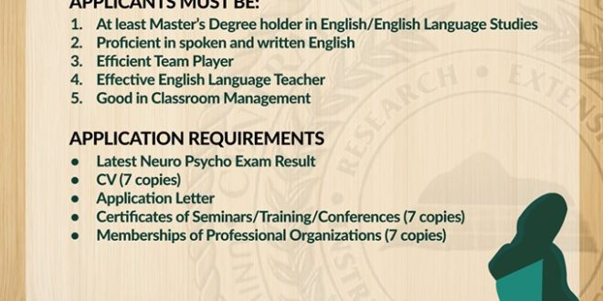 HIRING UPDATE: Department of Languages and Literature.