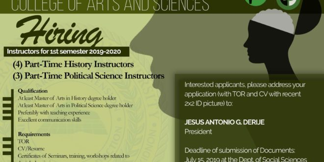 HIRING: The Department of Social Science, College of Arts and Science is looking for new Instructors.