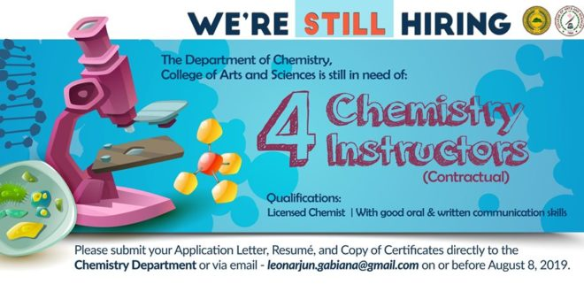 HIRING: The Department of Chemistry is still looking for 4 Chemistry Instructors.