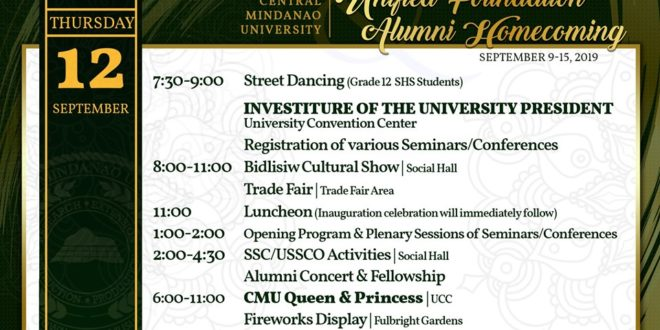ANNOUNCEMENT: CMU's 109th Unified Foundation and Alumni Homecoming schedule of activities