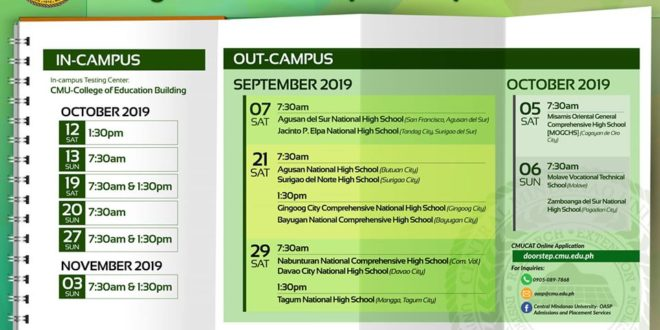 LOOK: IN and OUT CAMPUS CMUCAT schedule for S.Y. 2020-2021