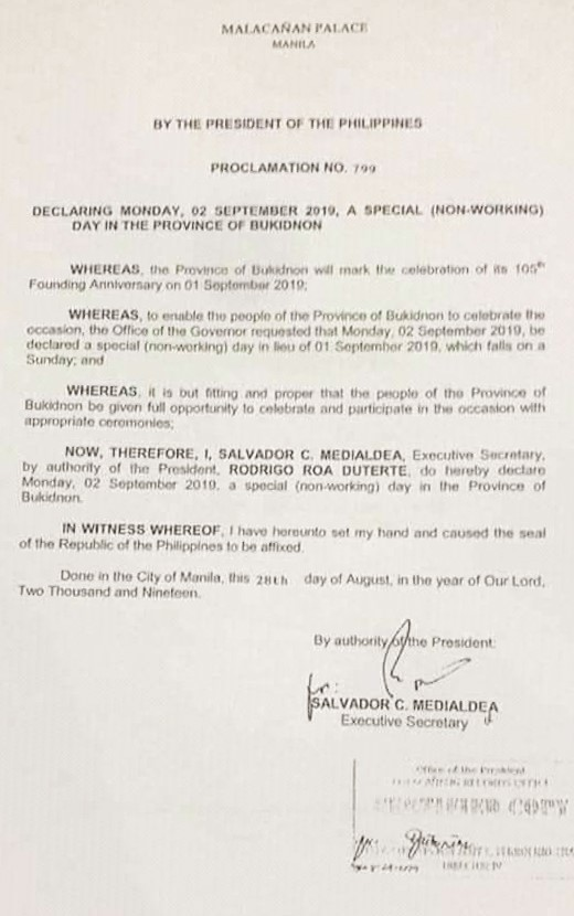 JUST IN: Declaring MONDAY, 02 September 2019 as a SPECIAL (NON-WORKING) Day in the Province of Bukidnon.