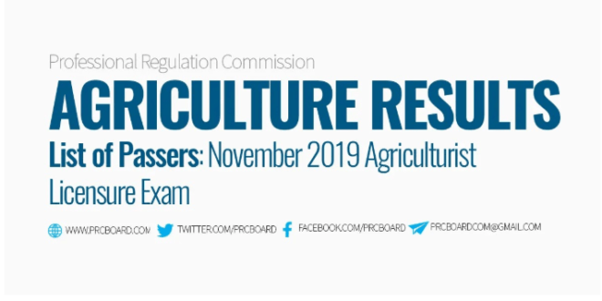 Congratulations to the passers of November 2019 Agriculture Licensure Examination!