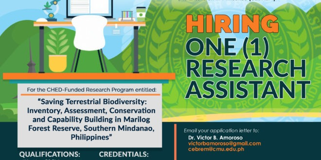 "Hiring: CEBREM is in need of one (1) Research Assistant for the CHED-Funded Research Program entitled: ""Saving Terrestrial Biodiversity: Inventory, Assessment, Conservation and Capability Building in Marilog Forest Reserve, Southern Mindanao, Philippines"" #CMUToday #CMUJobs"