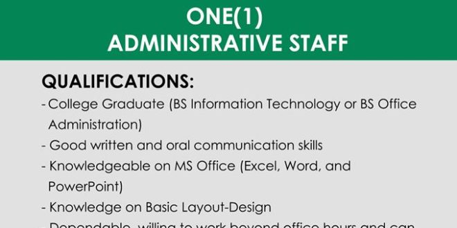 HIRING: The Quality Assurance Office is in need of One (1) Administrative Staff