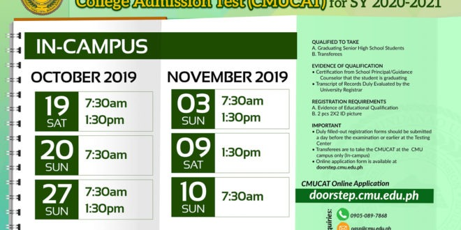 LOOK: In-Campus Schedule of CMUCAT for SY 2020-2021.