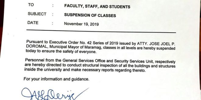 CMU Office of the President Memo No. 11-454, s. 2019 SUSPENSION OF CLASSES | November 19, 2019