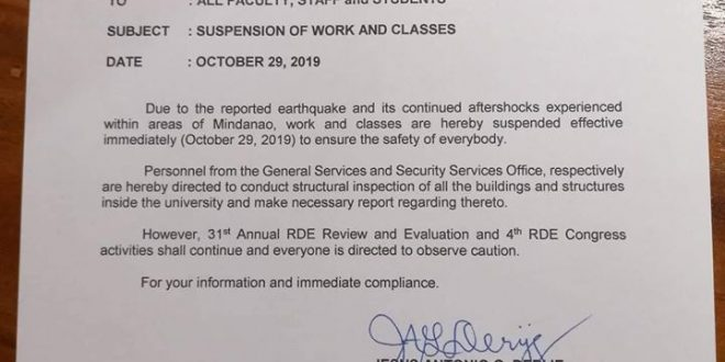 ATTENTION: Suspension of classes on October 29