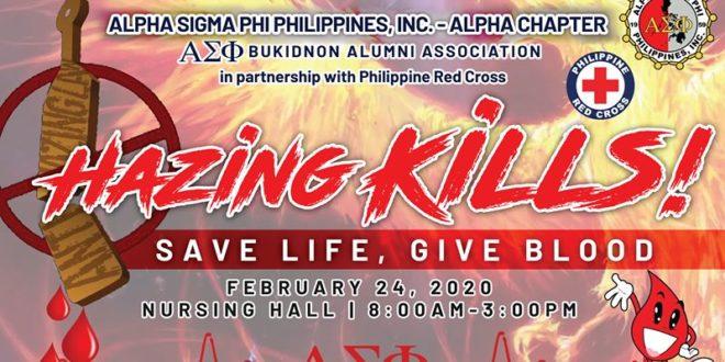 HAZING KILLS! Save Life, Give Blood
