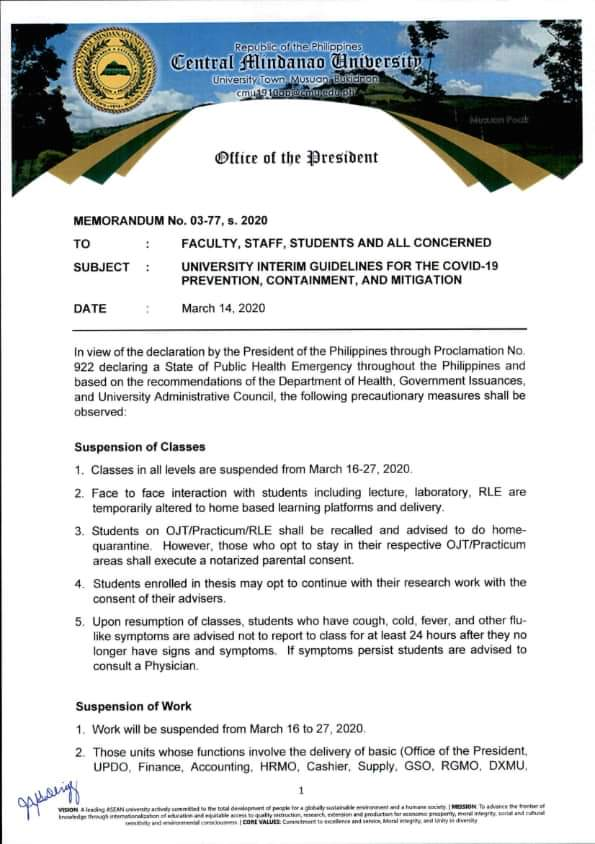 #CMUAns PLEASE READ: University Interim Guidelines for the COvID-19 Prevention, Containment, and Mitigation #CMUToday #COVID19 #CMUGuidelines
