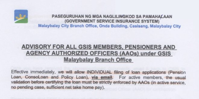 ADVISORY FOR ALL GSIS MEMBERS, PENSIONERS AND AGENCY AUTHORIZED OFFICERS (AAOs) under GSIS Malaybalay Branch Office