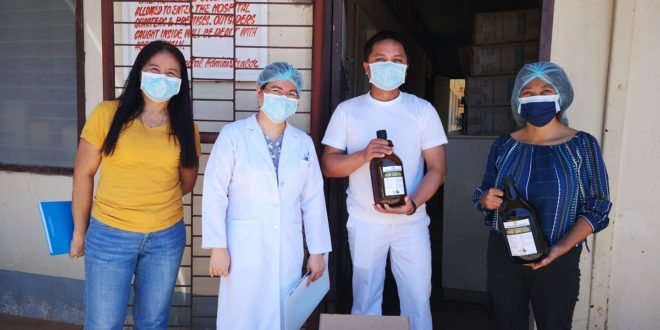 CMU distributes hand sanitizers to different frontline institutions in the province