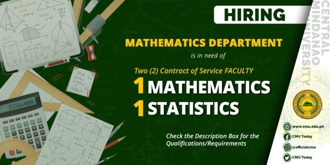 HIRING: Department of Mathematics