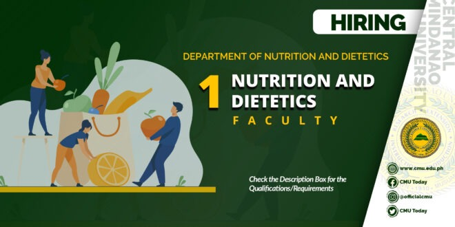 HIRING: One (1) Faculty member of the Department of Nutrition and Dietetics for the First Semester, SY 2020-2021