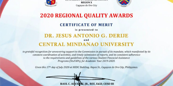 CHED-R10 awards CMU as best implementor of CHED Mandates during the 1st Regional Quality Awards