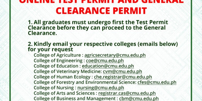 ANNOUNCEMENT: ONLINE TEST PERMIT AND GENERAL CLEARANCE PERMIT