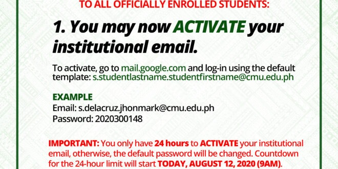 ANNOUNCEMENT: TO ALL OFFICIALLY ENROLLED STUDENTS
