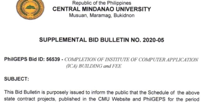 SUPPLEMENTAL BID BULLETING NO. 2020-05
