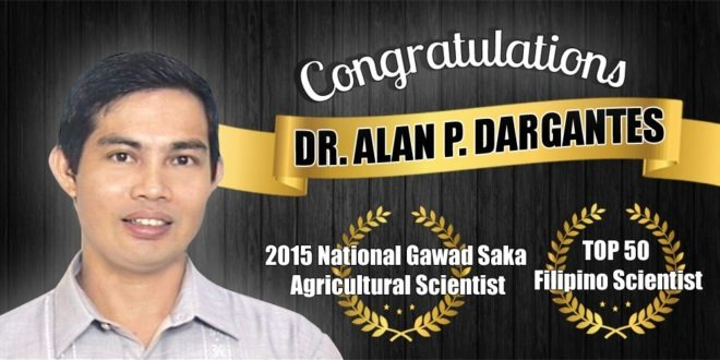CMU Professor is 2015 National Gawad Saka Most Outstanding Agricultural Scientist Awardee, Top 50 Scientist of PH