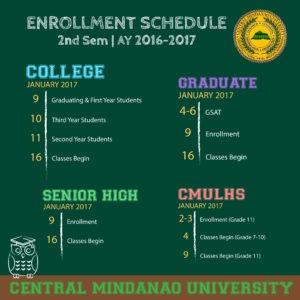 Enrollment Schedule 2017