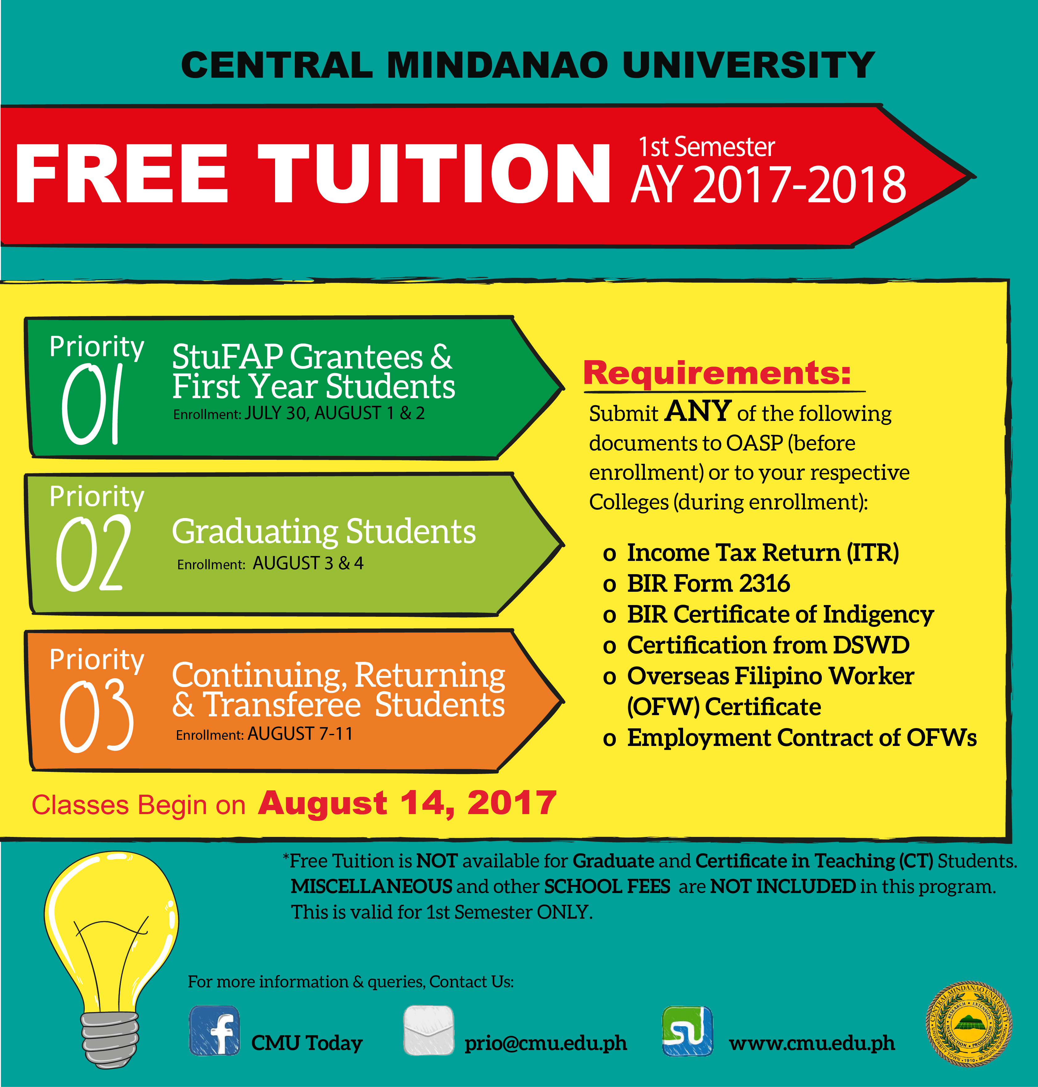 FREE TUITION GUIDELINES | Central Mindanao University